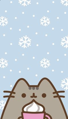 Winter/Christmas Pusheen Phone Wallpaper/Background - I love pusheen ❤️ - Cat Wallpaper Cats Wallpaper, Wallpaper Winter, Christmas Phone Wallpaper, Cute Wallpaper For Phone, Free Iphone Wallpaper, Kawaii Wallpaper, Wallpaper Backgrounds, Winter Wallpapers, Phone Backgrounds