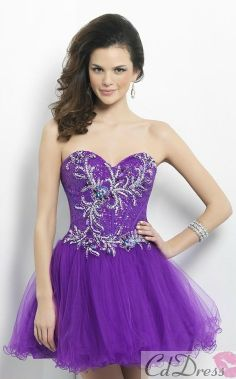 bb041eac3db Empire Sweetheart Tull and Beading Short Prom Dress - HomeComing Dresses -  Homecoming