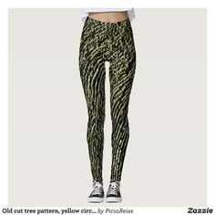 Old cut tree pattern, yellow circles curves ovals leggings