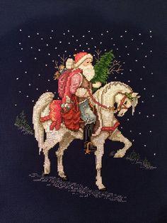 Traveling Santa cross stitch