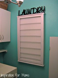 Ballard Designs Inspired Beadboard Drying Rack Tutorial - A simple project for a busy laundry room.