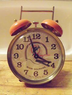 Vintage Miami Dolphins NFL Alarm Clock Works Great