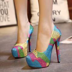 Womens Hot Colorful Rhinestone Stiletto Pump High Heels