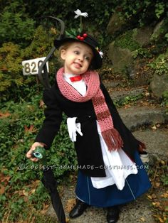 Childrens Diy Mary Poppins Costume - Mini Mary Poppins Halloween Costume Coolest Halloween Costume Mary Poppins Child Costume Book Week Costume Diy Costumes Kids No Sew Diy Mary Poppins K. Mary Poppins Children, Mary Poppins Halloween Costume, Mary Poppins Kostüm, Spooky Halloween, Halloween Costume Contest, Cute Halloween Costumes, Costume Ideas, Merry Poppins, Halloween 2016