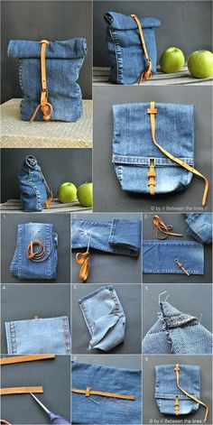 Denim Bag. I've been wanting to make a bag with a rollover top, so this is a little inspiration. Link leads to instructions.