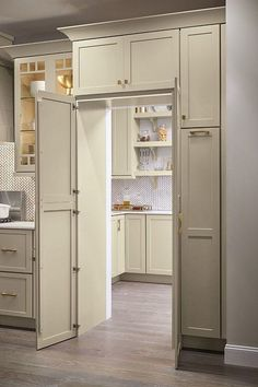 18 Secret Doors You Will Be Inspired To Have! Kitchen Pantry Design, Kitchen Cabinet Organization, Organization Ideas, Kitchen Ideas, Kitchen Decor, Cabinet Ideas, Kitchen Hacks, Rustic Kitchen, Kitchen Layout