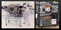 Left: 250 MB hard disk drive from 1979. Right: The IBM 3380 from 1980, the first gigabyte-capacity hard disk drive.