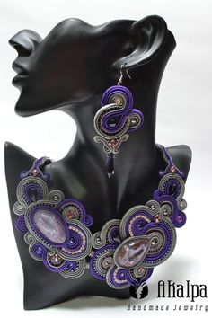 Lavare from east...soutache with druzy stone (available)