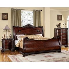 Lowest price online on all Furniture of America Angelonia King Bedroom Set in Brown Cherry - Wood Bedroom Sets, Kids Bedroom Sets, Bedroom Furniture Sets, Bedroom Decor, Bedroom Ideas, Couches, California King Bedroom Sets, Wood Sleigh Bed, Bedroom Night Stands