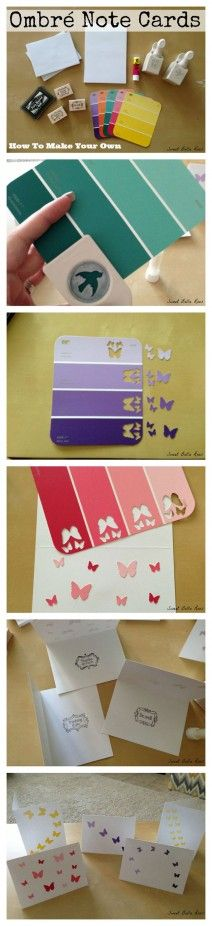 Ombre Note Cards with Paint Chips & Paper Punches - Paint Chip Projects - 21 Cool DIY Scrapbook Ideas Cute Crafts, Diy And Crafts, Crafts For Kids, Tarjetas Diy, Diy Scrapbook, Scrapbook Layouts, Wedding Scrapbook, Scrapbook Ideas Baby, Anniversary Scrapbook