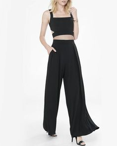 high waisted pleated wide leg pant