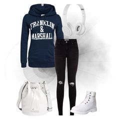 A fashion look from September 2015 featuring blue hoodies, ripped jeans and leather ankle booties. Browse and shop related looks. Franklin Marshall, Blue Hoodie, Beats By Dr, Ripped Jeans, Ankle Booties, Timberland, Polyvore Fashion, Adidas Jacket, Marc Jacobs