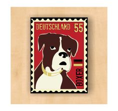 Boxer Dog Art Magnet German Postage Stamp  2 x3 by GoingPlaces2