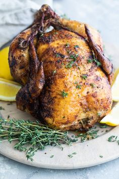 Learn how to make rotisserie chicken at home with my super simple spice rub (4 ingredients plus salt Slow Cooker Recipes, Beef Recipes, Chicken Recipes, Healthy Recipes, Recipe Chicken, Healthy Food, Recipies, Whole Roasted Chicken, Stuffed Whole Chicken