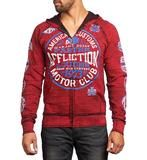 "DETAILS   • Affliction Reversible Zip Hood    • Graphics on Both Sides of Hood    • Dark Red Belt Print Detail    • Black / Affliction Red Wash  CONTENT AND CARE    • 100% Cotton    • Machine Wash Cold    • Made in USA  MODEL     • Height = 5'11""    • Chest = 41""    • Waist = 32""    • Wearing size medium"