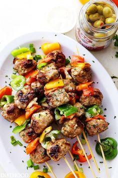 Grilled Mediterranean Turkey Meatballs Skewers