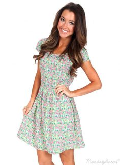 Wild Wind Blows Green Patterned Dress | Monday Dress Boutique
