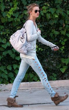 Rosie Huntington-Whiteley in Erin Wasson X RVCA cut-out panel jeans!