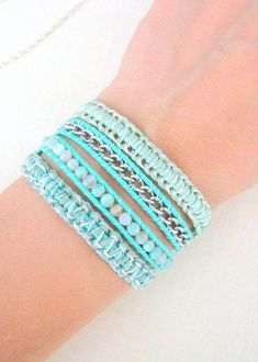 Leather  Wrap Bracelet with Silver Chain and Macrame in Silver and Mint Green:
