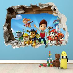 PAW-PATROL-SMASHED-WALL-STICKER-3D-BEDROOM-BOYS-GIRLS-VINYL-WALL-ART-DECAL