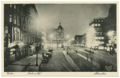 Königsberg, Der Steindamm bei Nacht, rechts Berliner Hof, links Alhambra