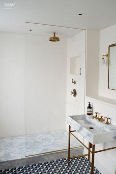 Tadelakt waterproof plaster finish in walk in shower instead of tiles.