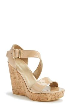 Loving EVERYTHING about this nude wedge sandal! Let's see, cork wedge, nude patent, the comfort of Stuart Weitzman; what more could one ask for? #getinmycloset Stuart Weitzman 'Oneliner' Patent Leather Wedge Sandal @Nordstrom #nordstromshoes #nordstrom