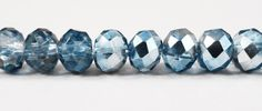 """Blue Crystal Rondelle Beads 6x4mm Half Light Blue Half Metallic Crystal Beads, Chinese Crystal Glass Beads on an 8 1/2"""" Strand with 50 Beads by BusyBeeBeadSupplies on Etsy"""