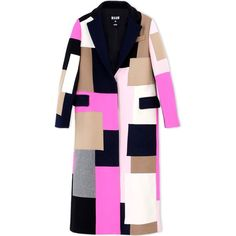 Msgm Coat ($1,010) ❤ liked on Polyvore featuring outerwear, coats, dark blue, colorful coat, msgm, print coat, long sleeve coat and woolen coat