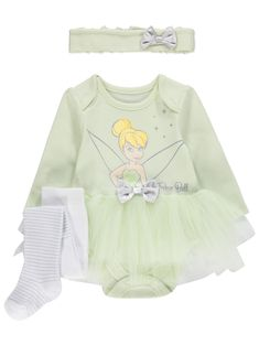 A twirl-worthy choice for aspiring fairies, this beautiful Disney Tinker Bell set features a fun and frilly tutu bo. Disney Baby Clothes, Baby Kids Clothes, Kids Outfits Girls, Girl Outfits, Baby George, Princess Outfits, Baby Supplies, Baby Development, Outfits With Hats