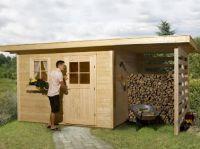 Domek ogrodowy LEWIS (450x200 cm). Zbudowany z dwóch części, które tworzą: domek ogrodowy (altana) o wymiarze 300x200 cm oraz wiata o wymiarze 150x200 cm. Praktyczny, pojemny- niezbędny w każdym ogrodzie czy działce!