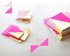 DIY gold dipped to-do notebooks