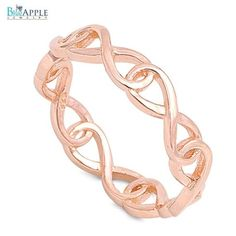 Interlock Wrap around Full Infinity Plain Band Ring Wedding Engagement Ring 925 Sterling Silver Rose Gold Plated Engagement Wedding Ring