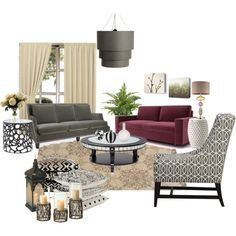 I like the idea of bringing some grey, black and cream.  We already have the burgundy couch.