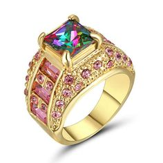 USA SELLER Womans Thick 14K Yellow Gold Filled w/ (1) Nice Size Aprox 3 CTS Princess Cut Rainbow Mystic & Pink Baguettes + Round Stones Ring Size 8 Retail Value $475.00. Starting at $1