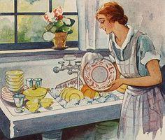 Doin' the Dishes....reépinglé par Maurie Daboux .•*`*•. ❥