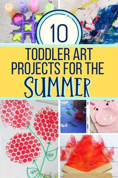 These ten toddler art projects for summer include fun process art that can be taken outside or with fun summer themes. Great for 1 and 2 year olds. #toddlersummerart #summerartforkids #kidsactivities #summeractivitiesforkids #toddlercrafts #toddlers #preschool #homeschool #summer Summer Art Projects, Toddler Art Projects, Toddler Crafts, Projects For Kids, Kid Crafts, Preschool Crafts, Class Projects, Baby Crafts, Frozen Painting