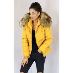 One Nation Clothing Holly Quilted Short Hooded Puffer Anorak Coat With... ($125) ❤ liked on Polyvore featuring outerwear, coats, yellow, oversized coat, quilted coat, short puffer jacket, hooded puffer jacket and mustard yellow coat