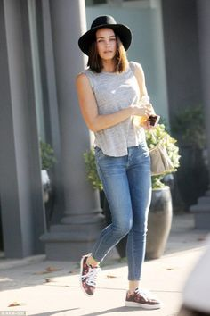 Jenna Dewan Tatum wearing Celine Trio Bag, Commes Des Garcons x Converse Chuck Taylor Play Low Top Sneakers, Janessa Leone Onyx Hat, A.L.C. Jill Cross Back Crew Tank in Grey and Goldsign Glam Mid Rise Skinny Crop Jeans in Gracie
