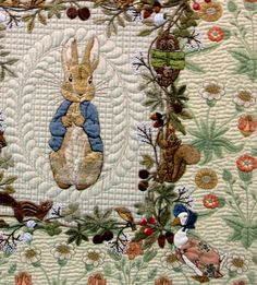 Queenie's Needlework: Tokyo International Great Quilt Festival 2016 - Part 4-Notice bkgrnd of rabbit, how different quilting patterns work synergistically with the same one fabric, to make it look as if it's several  monochromatic, same hue but different patterned-fabrics