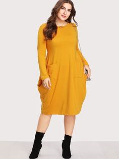 Shop Plus Dual Pocket Cocoon Dress online. SHEIN offers Plus Dual Pocket Cocoon Dress & more to fit your fashionable needs. Plus Size Sundress, Plus Size Dresses, Nice Dresses, Casual Dresses, Halter Dresses, Casual Wear, Prom Dresses, Plus Size Womens Clothing, Clothes For Women