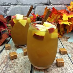 Caramel Apple Cider Sangria. This drink is delicious. Puts me in that fall season spirit and it is great to have around the Holidays.
