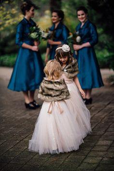 flower girls in faux fur capelets