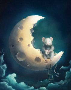 Whimsical Moon- too cute Art And Illustration, Fantasy Kunst, Fantasy Art, Art Fantaisiste, Art Mignon, Marjolein Bastin, Cute Mouse, Beautiful Moon, Moon Art