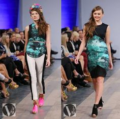 Vancouver Fashion Week - @Gretchen_Jones Custom Organic Cotton Print in teal black and white w/ off-grid fabric from India tuxedo pants also collaboration shoe by Shoes of Prey in Hot Pink and black floral headbands by Ban.do