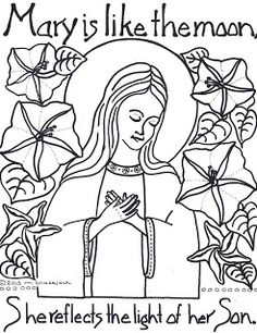 little jesus and me consecration and moonflowers and mary coloring page