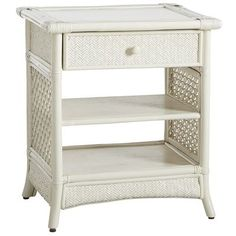 Senopati Nightstand - Antique White    I'm not sure that this would work well in the bedroom? Maybe it would be too much wicker?