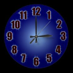 Blue wall clock with fiery red numbers and digital effects by YANKAdesigns on Zazzle $24.95