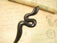 Exquisite Ebony Wood Hair Stick - Snake on Etsy, $25.00