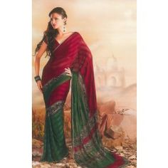 Red and Green color Satin Patty saree